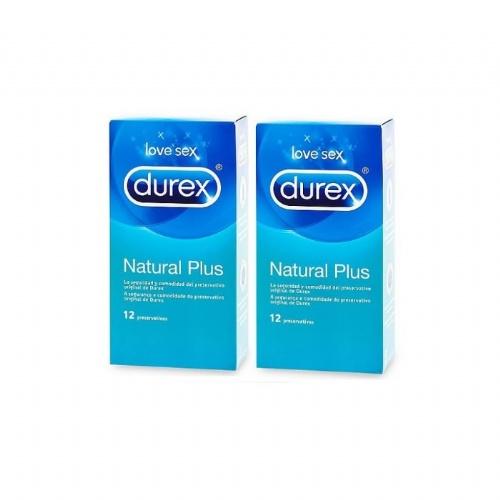 Durex natural plus - preservativos (12 preservativos 2 cajas)