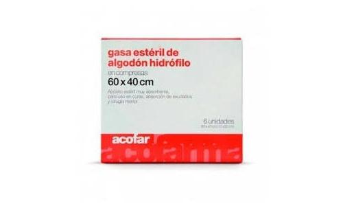 Gasa esteril algodon hidrofilo compresas - acofar (60 x40  6 u)