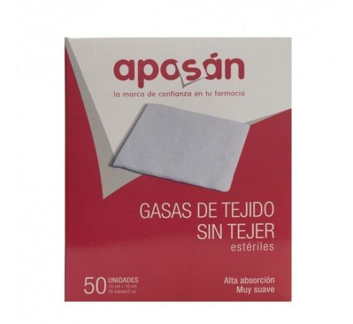 Aposan gasa esteril tejido sin tejer compresas (10 cm x 10 cm 50 gasas (2 u/sobre))